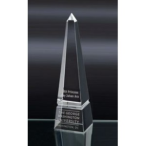 Large Grooved Obelisk Optical Crystal Award