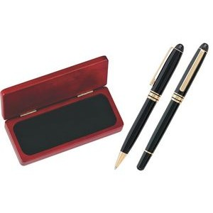 MB Series Pen and Roller Pen Gift Set in Rosewood gift box - black pen set