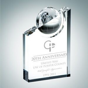 World Globe Pinnacle Optical Crystal Award (Small)